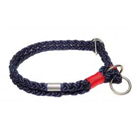 Handgespleisstes Tau-Halsband marine-rot