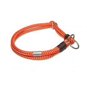 Handgespleisstes Tau-Halsband orange-schoko