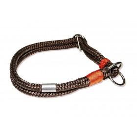 Handgespleisstes Tau-Halsband schoko-orange