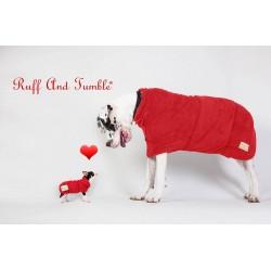 Hunde-Bademantel von Ruff And Tumble in ziegelrot