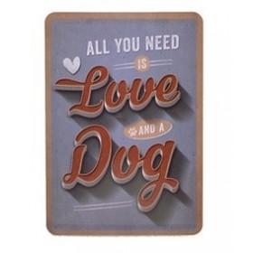 "Blechpostkarte ""Love & a Dog"""