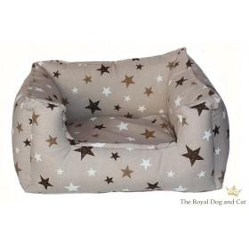 Hundebett eckig Sternenhimmel braun
