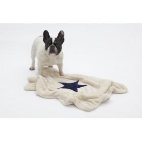 Hunde-Decke Plaid Pooch creme-dunkelblau