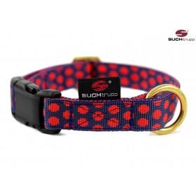 Hundehalsband Dots darkblue-red von SUCHtrupp