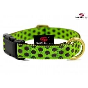 Hundehalsband Dots limegreen-brown von SUCHtrupp