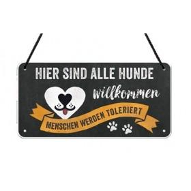 """Nostalgie-Hängeschild """"Hunde willkommen..."""""""